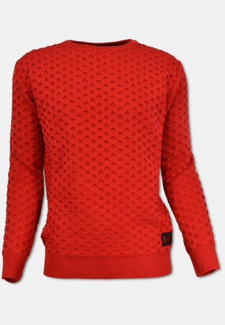Rundhals Pullover mit Jacquard-Muster, Rot