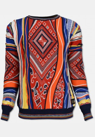 Sweater with all over jacquard, colorful patterned
