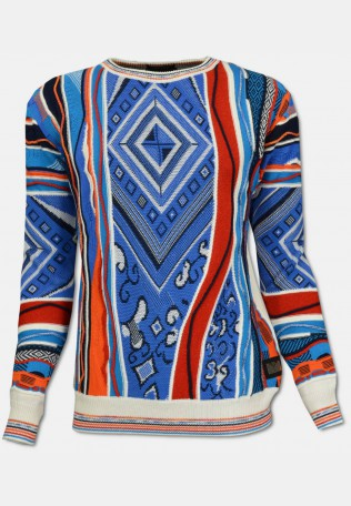 Sweater with all over jacquard, blue-white patterned