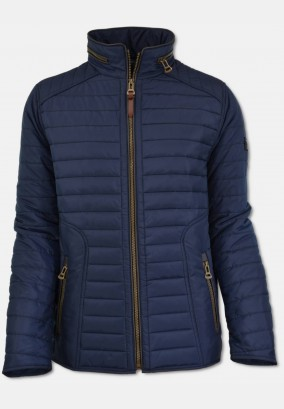 Sporty men quilted jacket with stand-up collar, navy