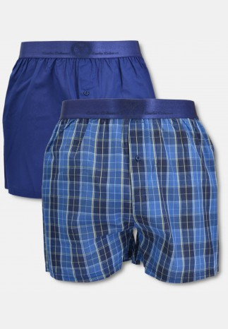 Men woven boxer short with elastic strap, navy plaid