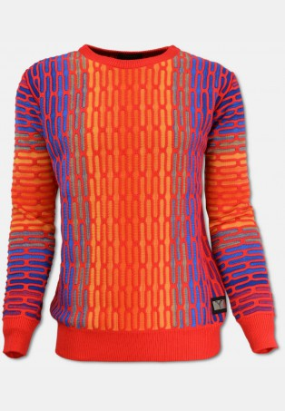 All-Over Jacquard Pullover, Rot-Orange