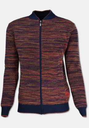 Grobstrickjacke mit Stehkragen, Navy-Orange