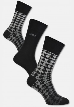 "High-quality cotton sock ""herringbone"", black-grey"