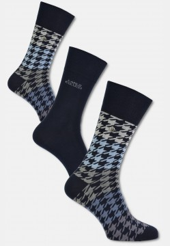 "High-quality cotton sock ""herringbone"", navy-blue"