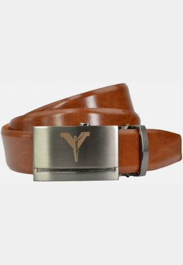 Automatic belt with metal buckle made of cow-hide leather, cognac