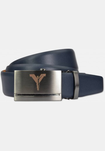 Automatic belt with metal buckle made of cow-hide leather, navy