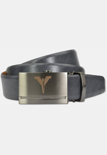 Automatic belt with metal buckle made of cow-hide leather, grey