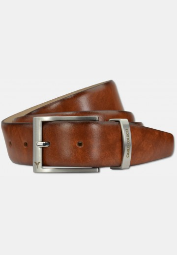 Classic belt in smooth leather, cognac