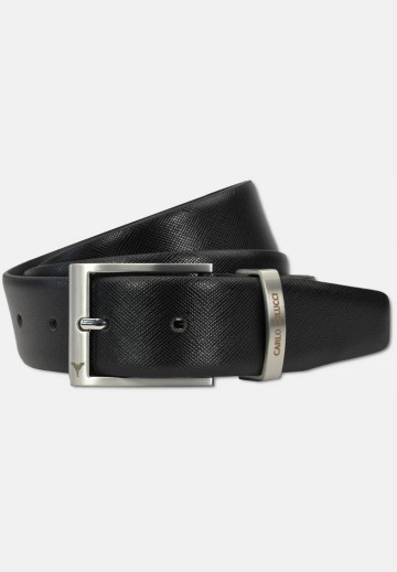 Classic belt with saffiano-leather, black