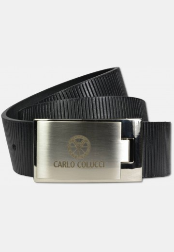 Sporty belt with groove embossment, black