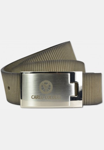 Sporty belt with groove embossment, taupe