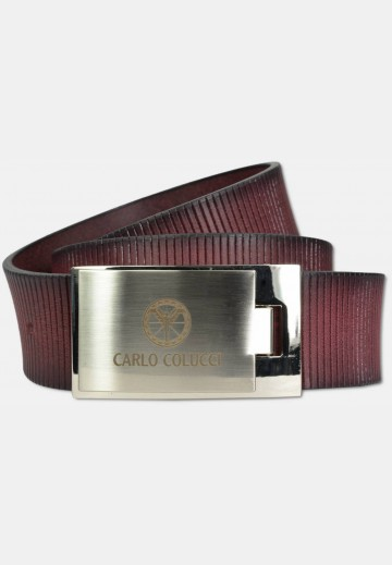 Sporty belt with groove embossment, red