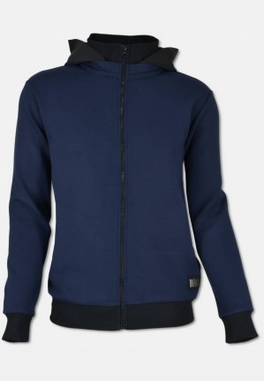 Sweat-jacket with hoodie, navy