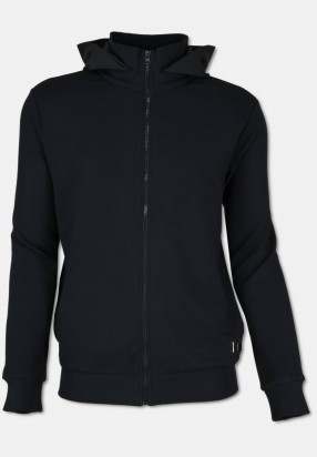 Sweat-jacket with hoodie, black