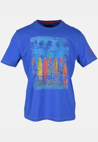 T-shirt with front print, azure blue