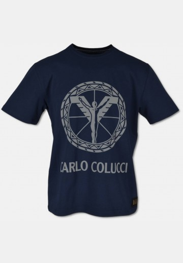 T-shirt with 3D-logo-print, navy