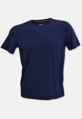 Crew-neck T-shirt with logo embroidery, navy