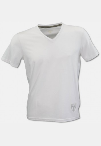 V-neck T-shirt with logo embroidery, white