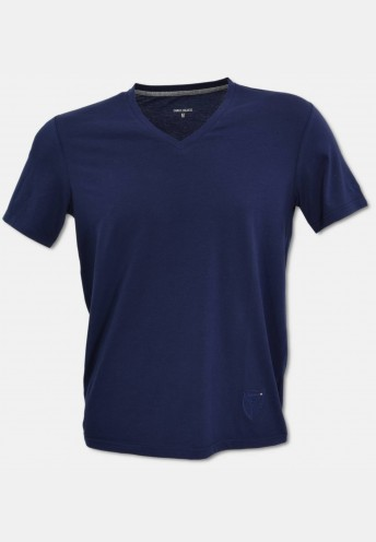 V-neck T-Shirt mit Logo Stickerei, Navy