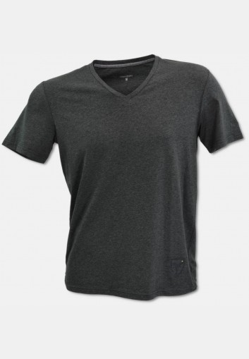 V-neck T-shirt with logo embroidery, anthracite melange