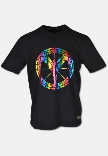 Crew neck T-Shirt with big, colourful logoprint, black