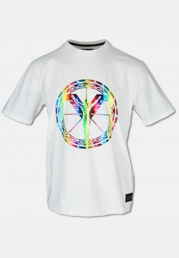 Crew neck T-Shirt with big, colourful logoprint, white