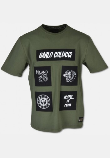 Elaborate T-shirt with 3D embroidery, olive