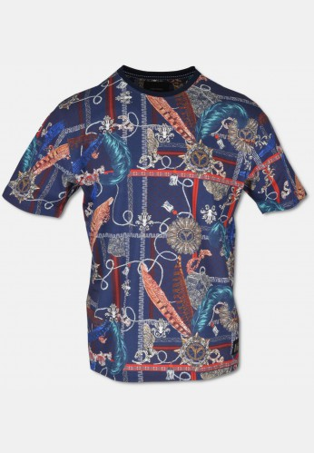 Great T-shirt with allover print, navy