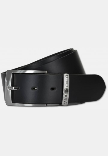 Elegant smooth leather belt with logo embossing, black