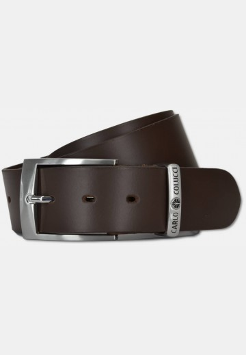 Elegant smooth leather belt with logo embossing, dark brown