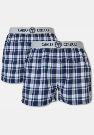 Boxer short with woven waistband, 2-pack, blue checkered