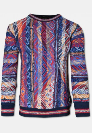 Classic colorful CARLO sweater with crew-neck, navy