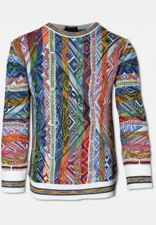 Classic, colorful CARLO sweater with crew-neck, white