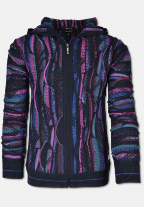 Cardigan with cut-outs, navy-pink-purple