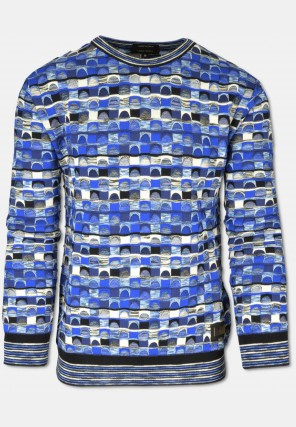 Multicolored sweater with jacquard pattern, blue