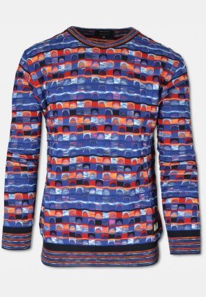 Multicolored sweater with jacquard pattern, blue-orange