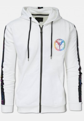 Sweat jacket with hoodie and lettering logo, white