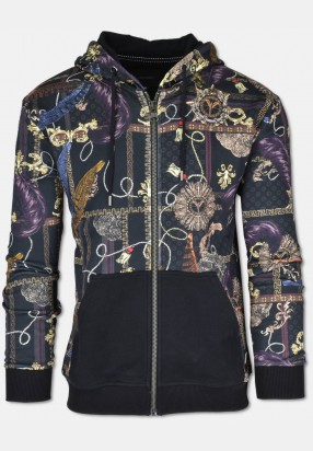 Sweat jacket with all-over print, black