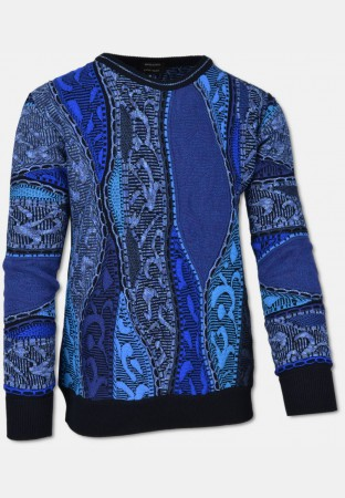 Crew-neck sweater with jacquard knit pattern, navy-royalblue