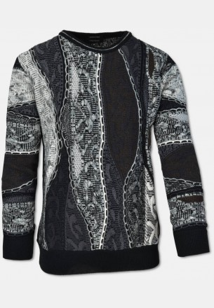 Crew-neck sweater with jacquard knit pattern, black-grey