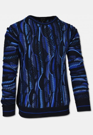 All-over Strickpullover mit Rundhalsausschnitt, Navy-Royalblau