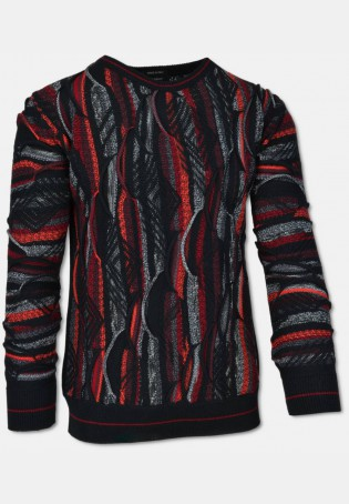 Allover knit sweater with crew neck, black-grey-red