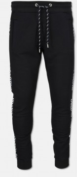 Basic sweat pant with side tape, black