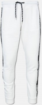 Basic sweat pant with side tape, white