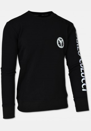 Sweat shirt made of cotton fleece, black