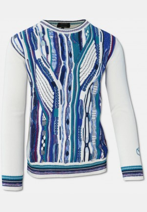 Knit sweater with intarsia on front, White-Blue-Petrol