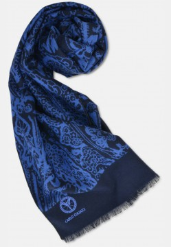 Noble silk scarf with filigree pattern, blue