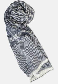 Patterned wool scarf, white-blue