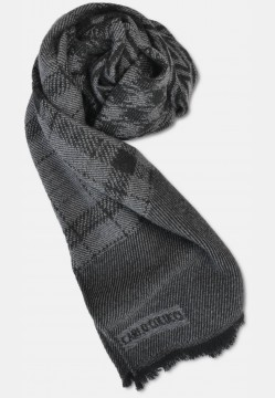 Patterned wool scarf, anthracite